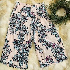 NWT CHELSEA 28 floral crop wide leg pants sz L
